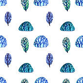 Watercolor seamless pattern with blue trees and brunches on white background. magic forest collection. Winter or Christmas decoration.