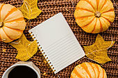 Autumn frame made of pumpkin, notebook, cup of coffee and fallen leaves on brown knitted sweater. Fall, Halloween and Thanksgiving concept. Top view. Empty space for your text