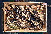 Fresh oysters in a wooden traditional box in male hands on a dark background. Fresh french seafood