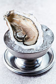 Fresh oysters in a metal bowl with ice. Fresh gourmet seafood