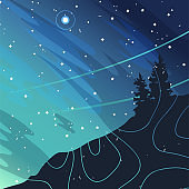 Abstract minimalist background with moon, stars, mountain, trees.