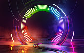 Neon Colorful Loops Empty Stage Lights Background