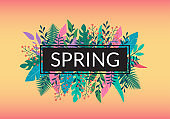 Spring floral banner or logo with leaves and green plants. Leaf and tree branches background for spring season, poster or flyer. Vector illustration.
