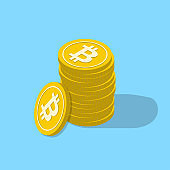Bitcoin isometric concept with golden coins stack. Crypto currency bit coin and web money logo. Vector illustration.