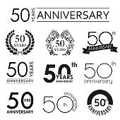 50 years anniversary icon set. 50th anniversary celebration logo. Design elements for birthday, invitation, wedding jubilee. Vector illustration.