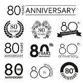 80 years anniversary icon set. 80th anniversary celebration logo. Design elements for birthday, invitation, wedding jubilee. Vector illustration.
