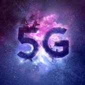 Wireless 5G Network Galaxy Nebula Background