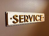 service inscription on the door