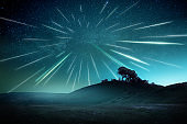 Perseids Shooting Stars Meteor Shower Night Landscape