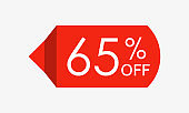 65 percent off. Sale and discount price tag, icon or sticker. Vector illustration.