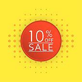 Sale banner design. 10 percent price off discount label or tag. Promo badge for advertising design. Vector illustration.