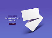 Realistic Business Card Layout Design And Shadows