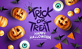 Purple Happy Halloween mockup Event Background
