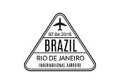 Brazil Passport stamp. Visa stamp for travel. Rio De Janeiro international airport sign. Immigration, arrival and departure symbol. Vector illustration.