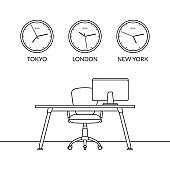 Office interior design outline sketch. Modern business workspace with office chair, desk, computer monitor and wall clock set with different time zones. Vector illustration.