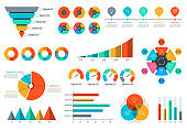 Chart and graph set. Business data infographic elements with circle diagram, pie chart, funnel, timeline infographics. Vector illustration.