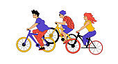 Active People Characters Cycling on Bikes