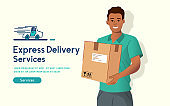 Cheerful Express Delivery Man Holding A Parcel