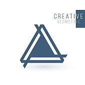 Creative trinity futuristic Triple triangle symbol design for company logo. Corporate tech geometric identity concept. Stock Vector illustration isolated on white background.