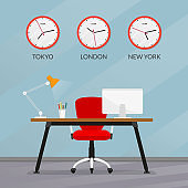 Office interior design. Modern business workspace with office chair, desk, computer monitor and wall clock set with different time zones. Vector illustration.