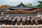 Jangdokdae, Korean traditional crocks or jars at Namsangol Hanok Village in Seoul, Korea