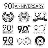 90 years anniversary icon set. 90th anniversary celebration logo. Design elements for birthday, invitation, wedding jubilee. Vector illustration.