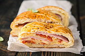 Neapolitan bread. Cheese and Ham Filled Bread