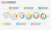 Circle infographics concept with 6 steps. Template for diagram, graph and pie chart. Timeline design with 6 levels, options, circles. Business presentation concept. Vector illustration.
