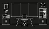 Office interior outline sketch. Modern business workspace with office furniture: chair, desk, computer, bookcase, clock on the wall and window. Vector illustration.