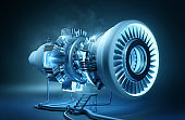 Engineering Futuristic Glowing Engine Concept