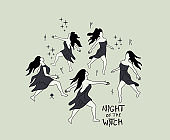 Dancing Witches At Midnight