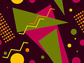 Geometric seamless pattern with triangles and dots. Retro fashion 80s background for wrapping paper, print, fabric and printing. Vector illustration