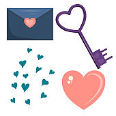 A set of objects for Valentine's day isolated on a white background. A letter, a heart, a set of hearts and keys. Items for postcards. Vector illustration..