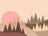 Mountain landscape in a minimalistic style. Sunrise and sunset, red sun. Boho decor for prints, posters and interior design. Mid Century modern decor. Trend style. Vector illustration
