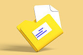 3d render modern folder with documents icon for data storage.