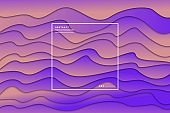 Vector realistic isolated papercut purple gradient layer background for decoration and covering. Concept of geometric abstract design template.