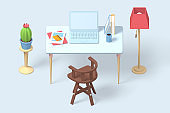 3d render modern workplace icon of laptop, documents and books.