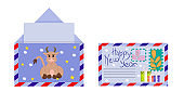 The Christmas envelope is isolated on a white background. Open envelope with a bull and snowflakes. Closed envelope with stamps. Vector illustration in a flat cartoon style.