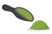 A scoop of matcha tea and a handful is isolated on a white background. Vector illustration in flat cartoon style. Green Japanese tea, healthy food and drinks..