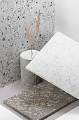 Creative composition of various building decoration materials.