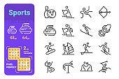 Sports activity line icons set