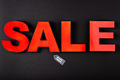 Top view of sale lettering near price tag with black friday words on black background