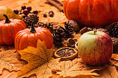 autumnal harvest and decoration with golden foliage