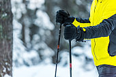 cropped view of skier holding ski sticks in wintertime