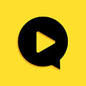 Black Play in circle icon isolated on yellow background. Long shadow style. Vector