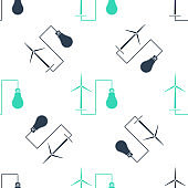 Green Wind mill turbine generating power energy and bulb icon isolated seamless pattern on white background. Natural renewable energy production using wind mills. Vector