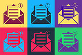 Pop art Received message concept. Envelope icon isolated on color background. New, email incoming message, sms. Mail delivery service. Vector