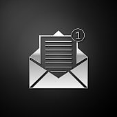 Silver Received message concept. Envelope icon isolated on black background. New, email incoming message, sms. Mail delivery service. Long shadow style. Vector