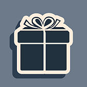 Black Gift box icon isolated on grey background. Long shadow style. Vector Illustration