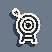 Black Target with arrow icon isolated on grey background. Dart board sign. Archery board icon. Dartboard sign. Business goal concept. Long shadow style. Vector Illustration